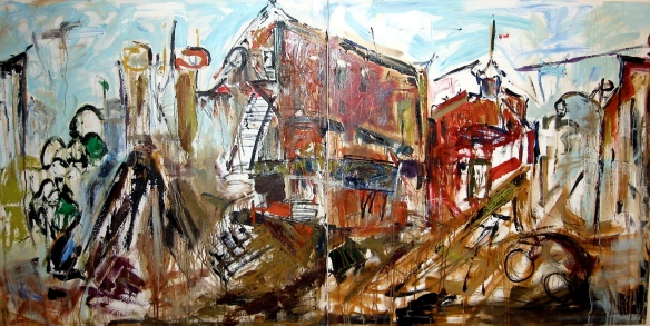 "10th street and 1st Avenue East - oil on canvas 48""X96"" diptych"